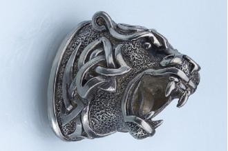 Навершие «Голова тигра в наколках» 127 (мельхиор)