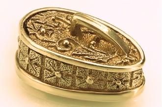 """Навершие для рукояти ножа """"Крестовый орнамент"""" с кольцом 303 (латунь)"""