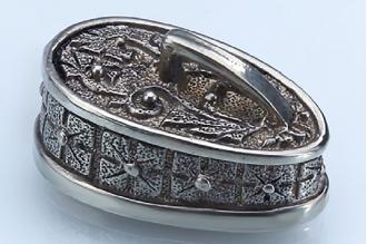 """Навершие для рукояти ножа """"Крестовый орнамент"""" с кольцом 303 (мельхиор)"""