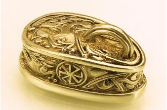 """Навершие для рукояти ножа """"Солярный символ"""" с кольцом 304 (латунь)"""