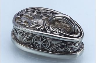 """Навершие для рукояти ножа """"Солярный символ"""" с кольцом 304 (мельхиор)"""