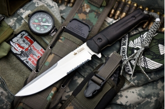 Нож Alpha (AUS-8, Satin, Serrated) Kizlyar Supreme, Россия