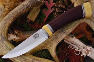 Нож Scandi CPM-3V, бордовая микарта, кость