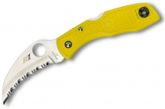 Складной нож Tasman Salt (H-1, Serrated, Yellow FRN) Spyderco
