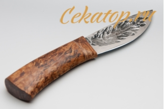 """Нож """"Якутский скиннер"""" (кованый дол, стабилизированная древесина) Игорь Шилин"""