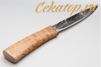 """Нож """"Якутский средний"""" (кованый дол, карел.береза) Игорь Шилин"""