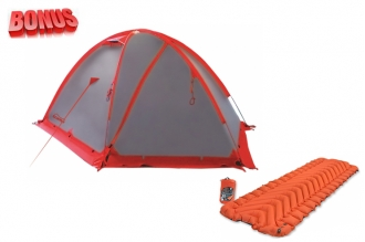 Палатка Rock 3 Tramp и коврик туристический Insulated Static V (Orange) Klymit