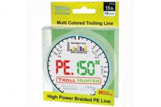 Многоцветный шнур PE Troll Hunter, диаметр - 0,23 мм