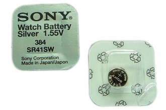 Батарейка серебряно-цинковая часовая SR41SW 384, Sony