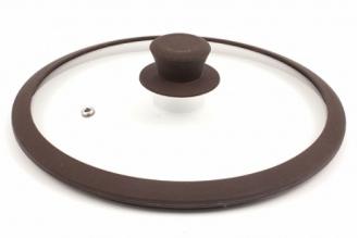Стеклянная крышка 24 см с коричневым силиконовым ободом