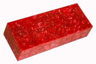 Заготовка для рукояти из акрилового композита (красный перламутр с мелкими метал
