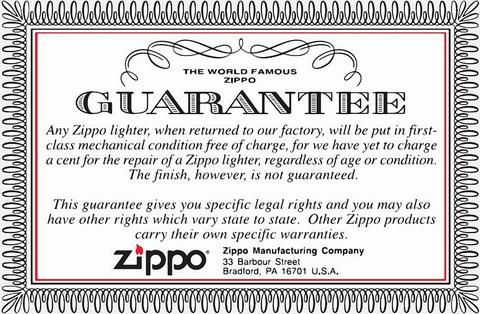 Гарантийный сертификат на зажигалки Зиппо